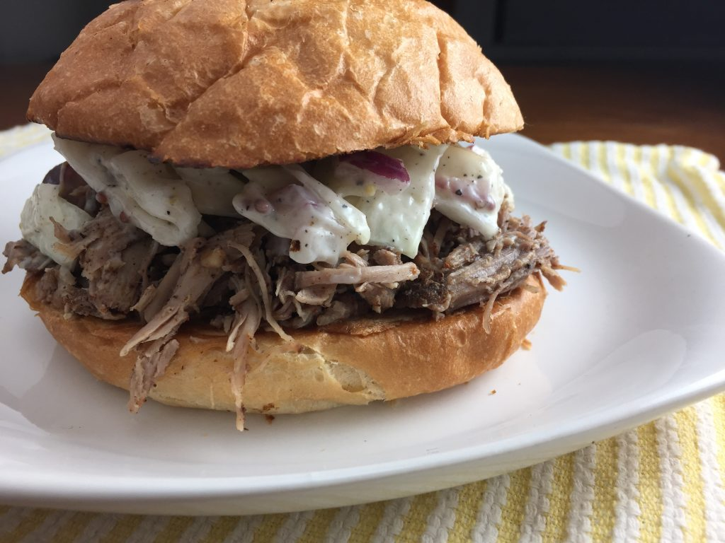 Pulled pork sandwich with creamy coleslaw from Cooking with Vinyl