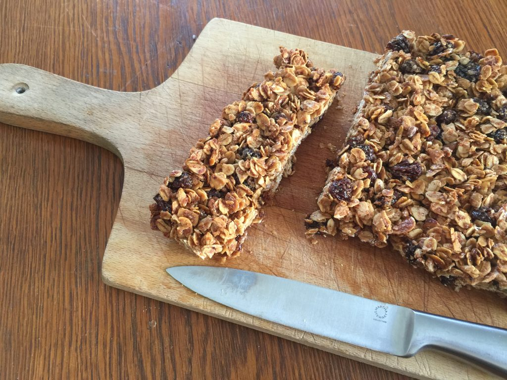 Homemade Granola Bars on Wooden Cutting Board