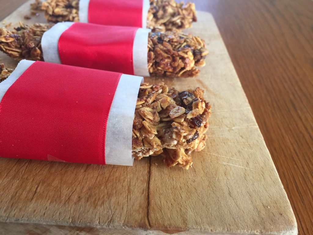 Homemade Granola Bars wrapped in ribbons
