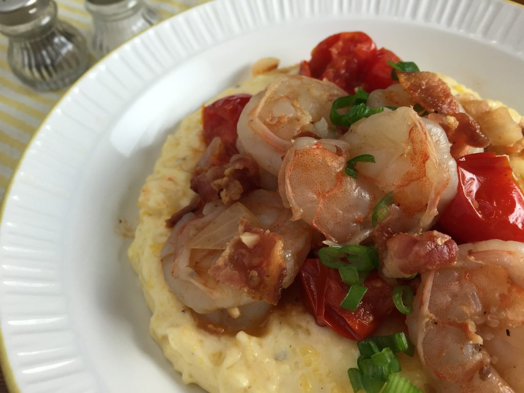 Shrimp and grits recipe from CookingWithVinyl.com