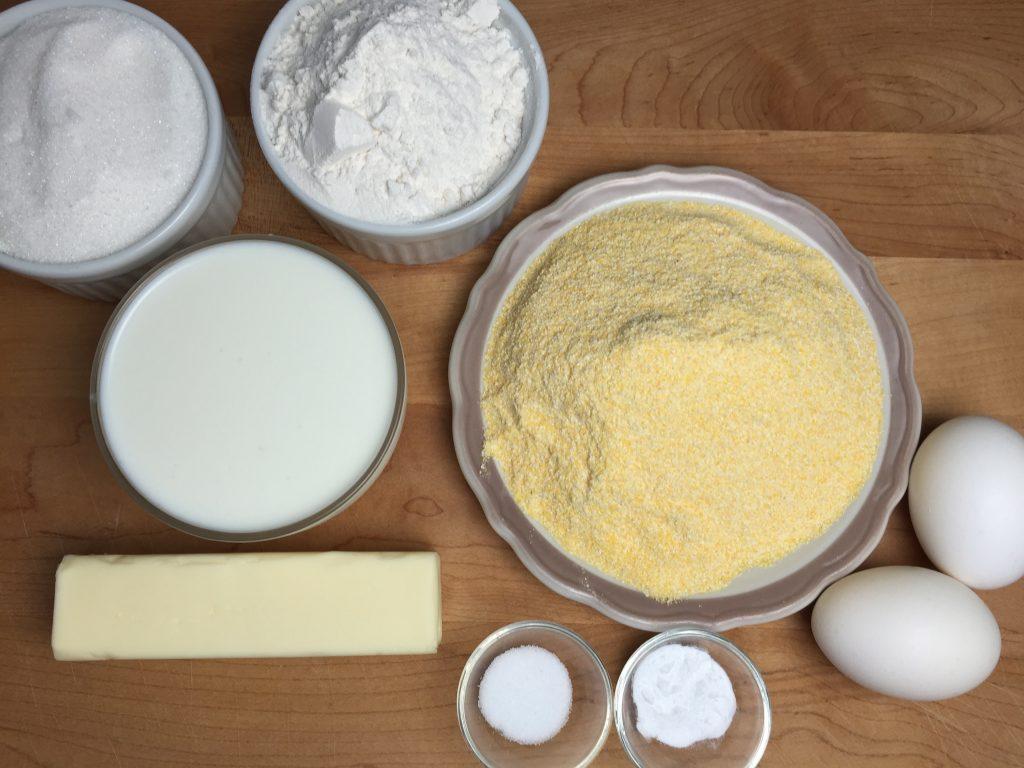 Sweet Cornbread ingredients