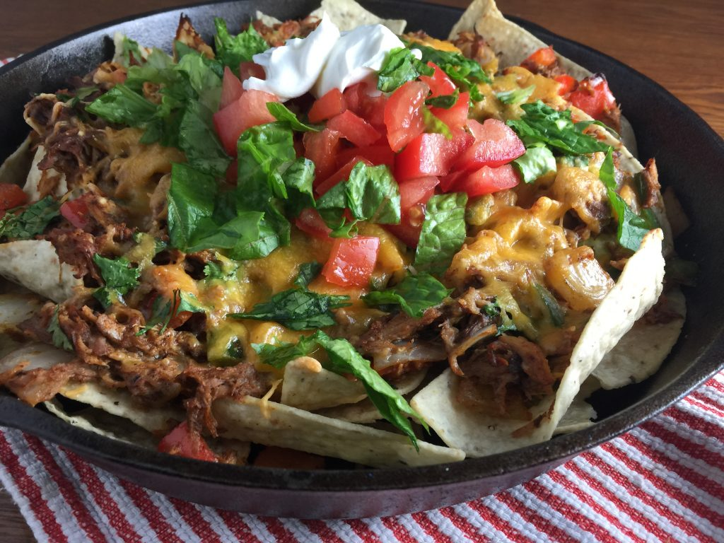 Pulled pork nachos recipe from Cooking with Vinyl