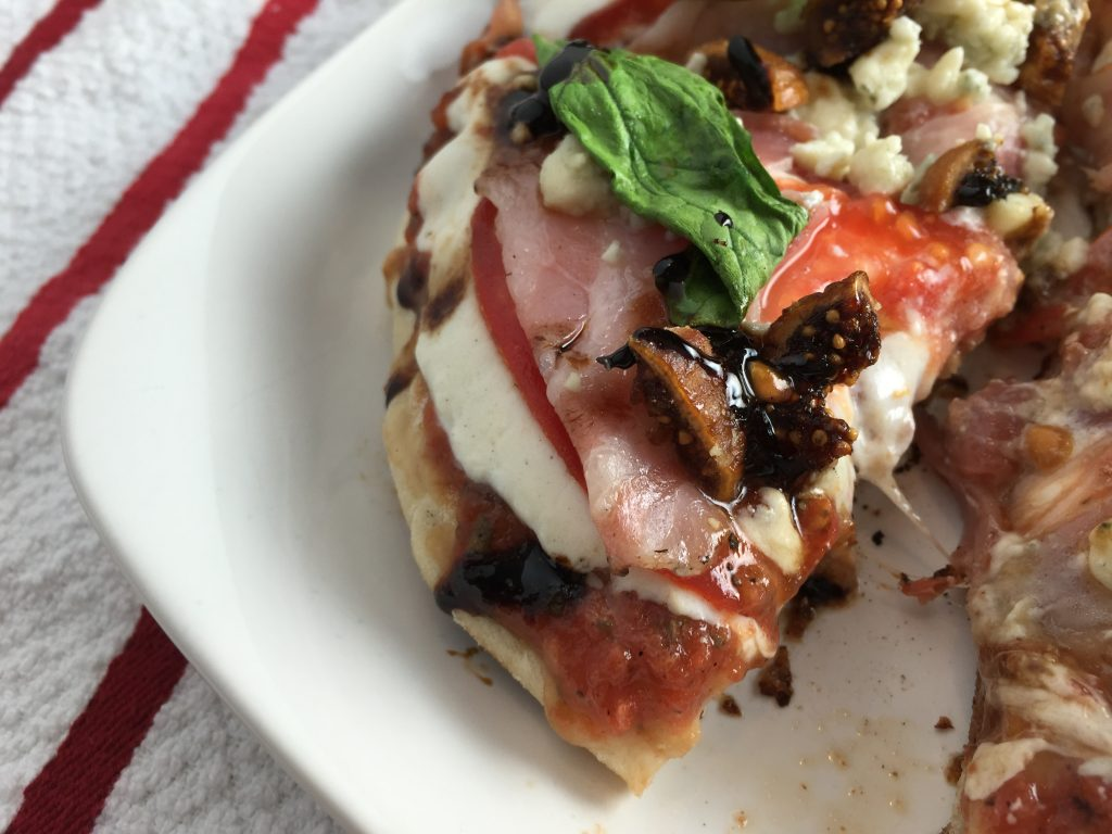Grilled pizza with fig, pancetta, and gorgonzola from CookingWithVinyl.com