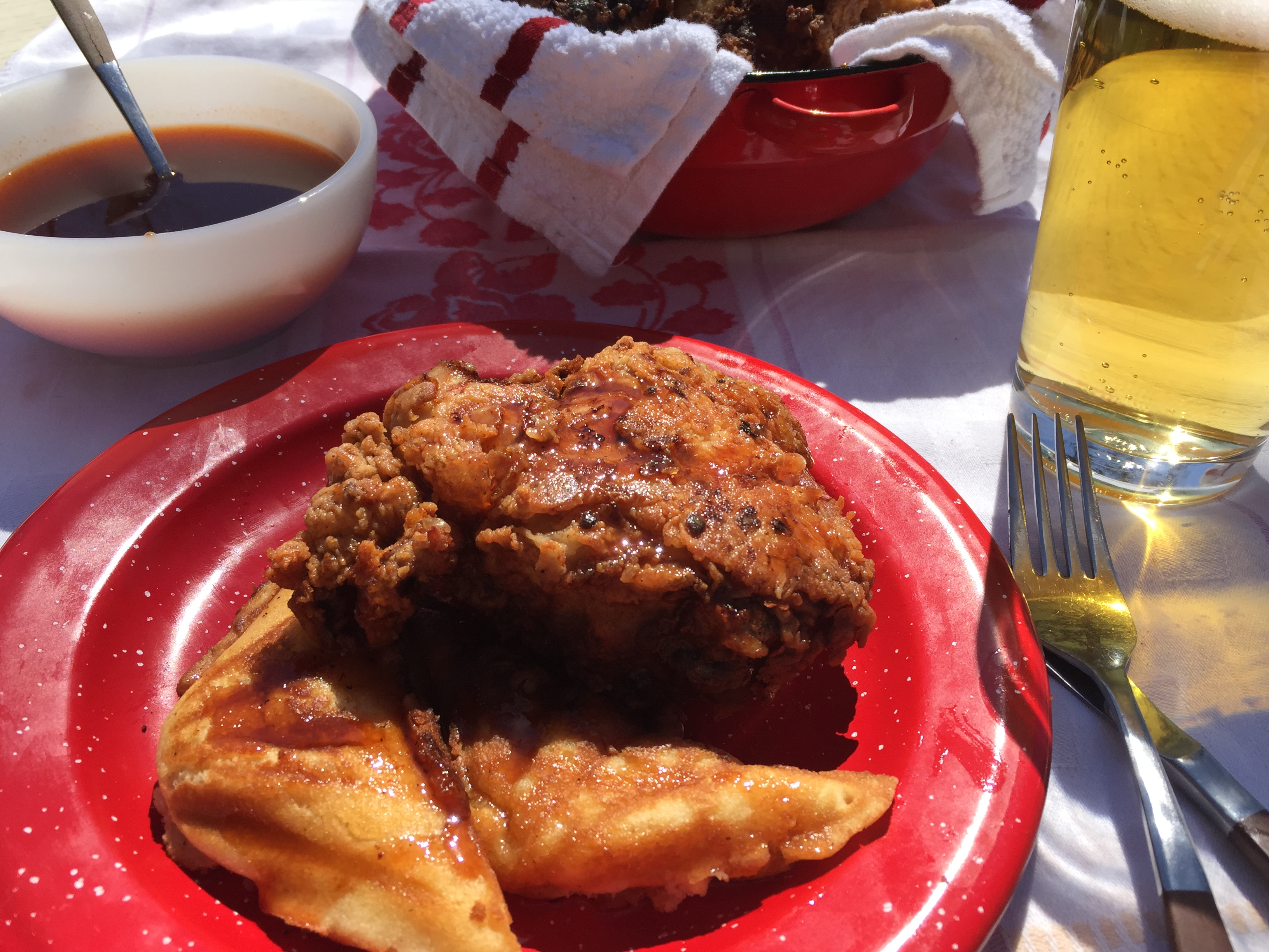 "Duet: Fried Chicken and Waffles with Sriracha Syrup / Bronze Radio Return ""Up, On & Over"""